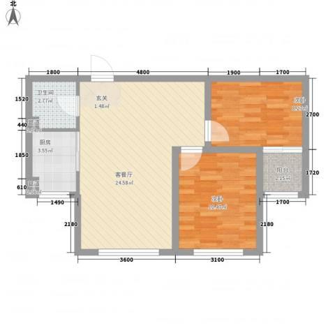 水岸雅居2室1厅1卫1厨74.00㎡户型图