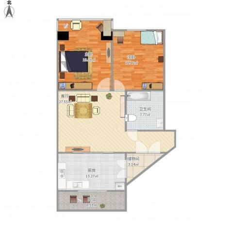 锦江园2室1厅1卫1厨126.00㎡户型图