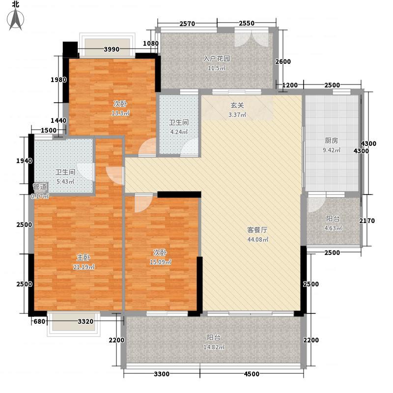 中银名苑136.10㎡2栋02单位户型3室2厅2卫1厨