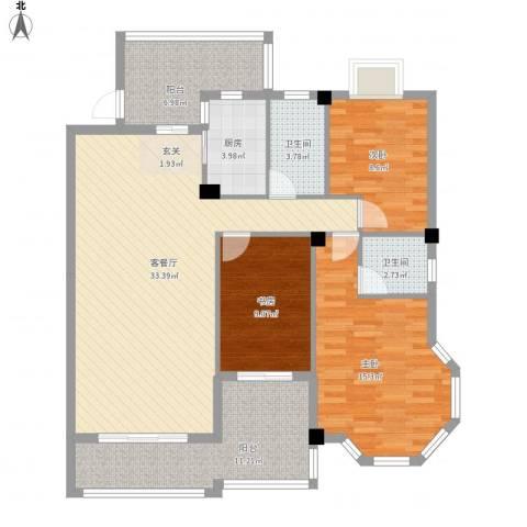 江都金域・地中海3室1厅2卫1厨134.00㎡户型图