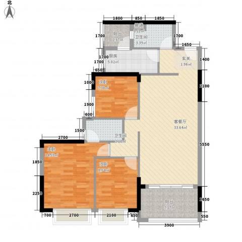 星城格调3室1厅2卫1厨114.00㎡户型图