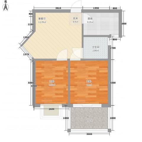 禧福泛海时代2室1厅1卫1厨57.00㎡户型图