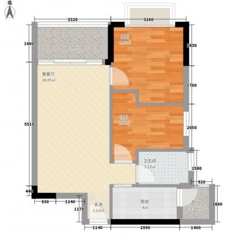 星城格调2室1厅1卫1厨72.00㎡户型图