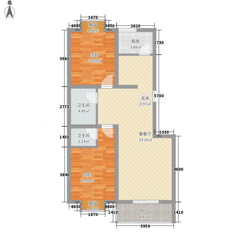 华豪花园洋房6.14㎡5号楼户型3室1厅2卫1厨