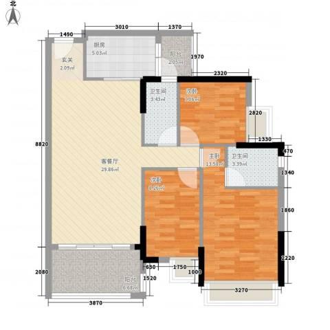 星城格调3室1厅2卫1厨112.00㎡户型图