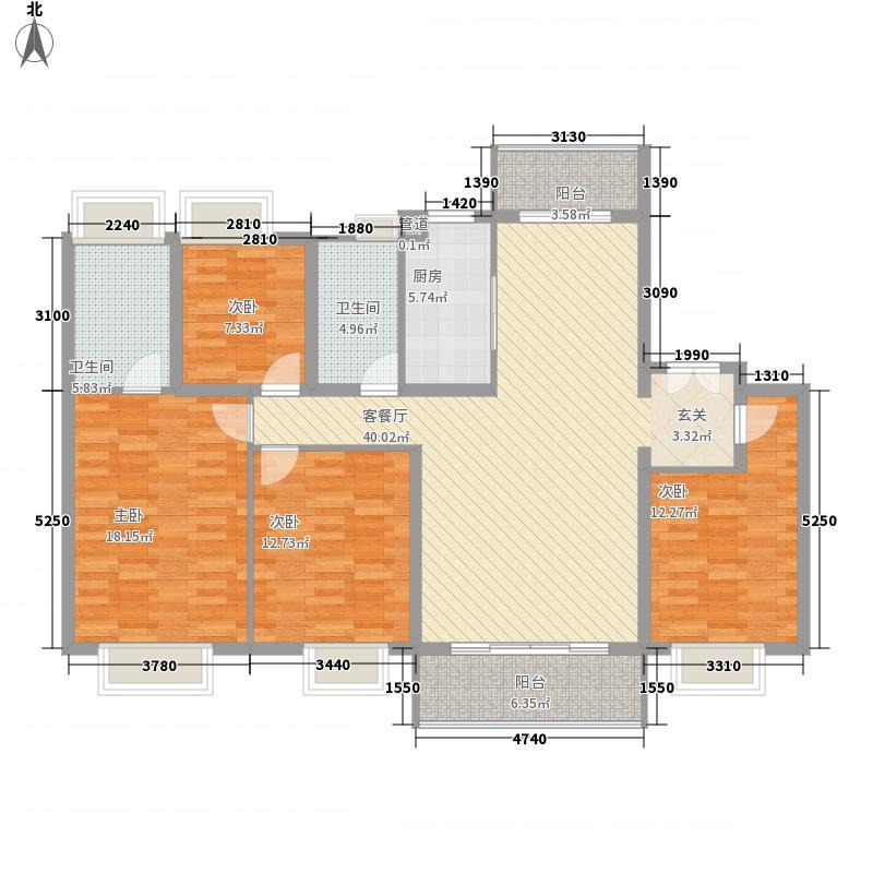 珠江东境花园15.00㎡一期洋房户型4室2厅2卫1厨
