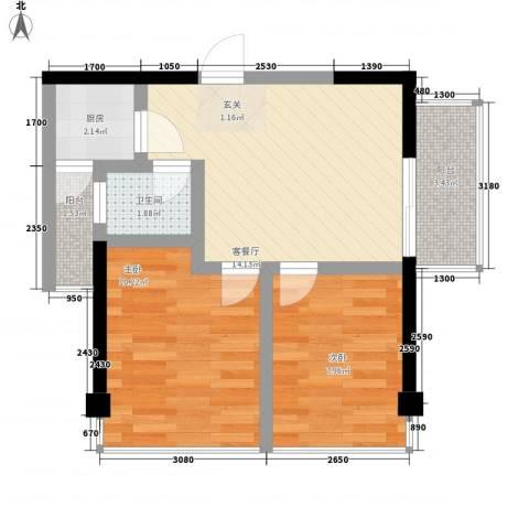 IP菁英时代2室1厅1卫1厨63.00㎡户型图