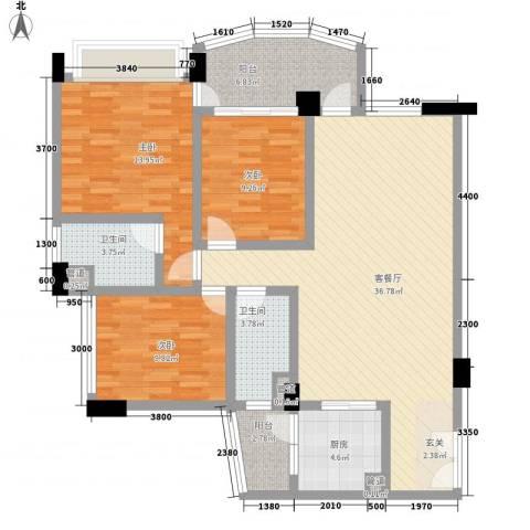 颐和上院3室1厅2卫1厨113.00㎡户型图