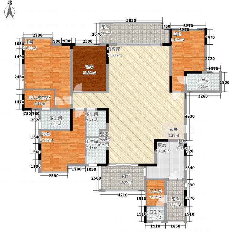 丰泰观山碧水256.00㎡5、6栋标准层01单元户型5室2厅5卫