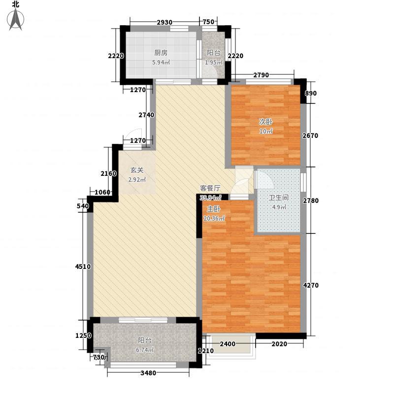 中海熙岸18.00㎡标准层A-3户型2室2厅1卫1厨