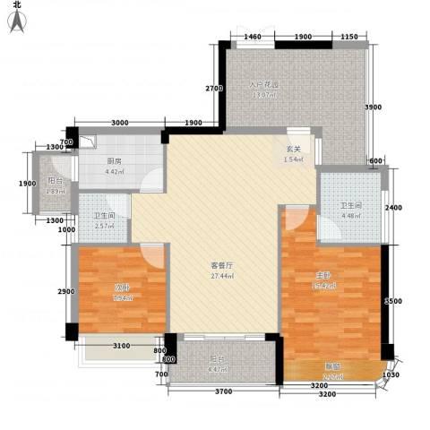 东方・比华利山庄2室1厅2卫1厨81.83㎡户型图