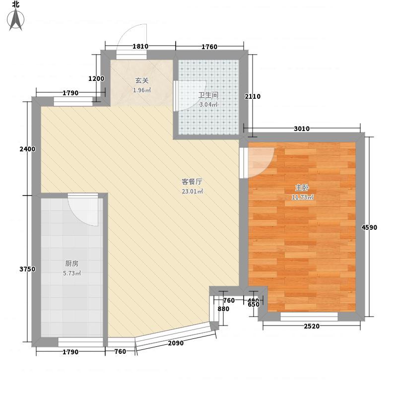 林海景天66.00㎡林丰苑2户型1室2厅1卫