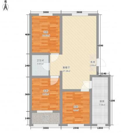 御景园3室1厅1卫1厨70.67㎡户型图