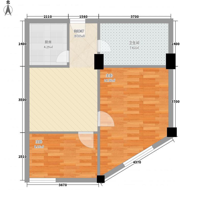 西岸国际中心81.36㎡户型2室1厅1卫1厨
