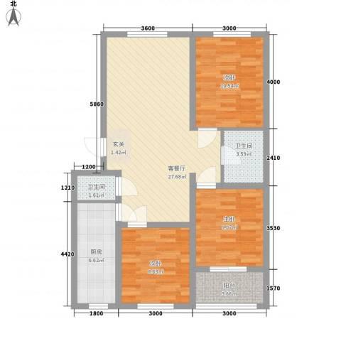 御景园3室1厅2卫1厨71.61㎡户型图