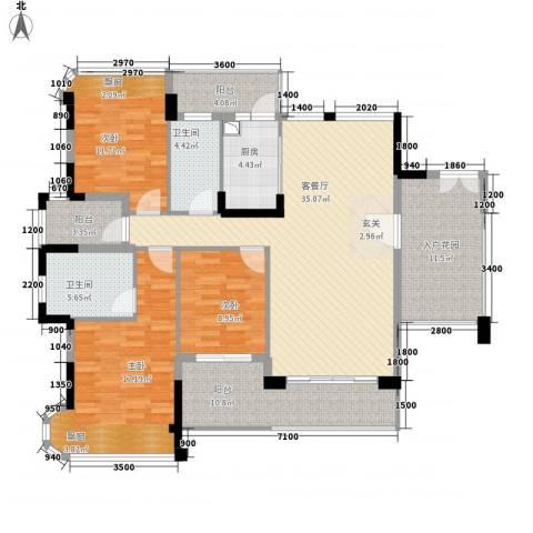 东方・比华利山庄3室1厅2卫1厨117.25㎡户型图