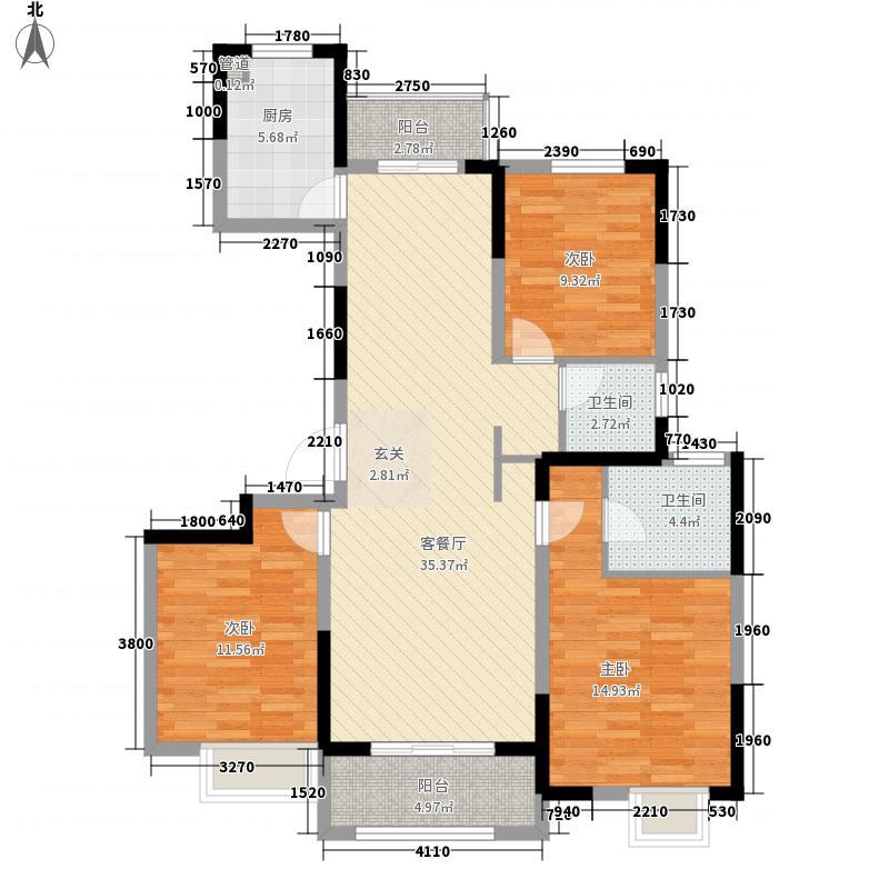 绿地工润・和平壹号132.00㎡一期高层9-11号楼A户型3室2厅2卫1厨