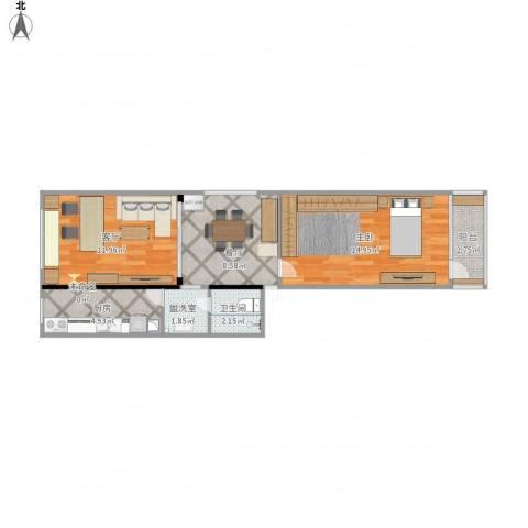 枣营北里1室3厅1卫1厨65.00㎡户型图