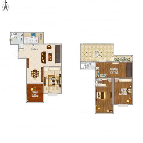 广石家园3室1厅1卫1厨196.00㎡户型图