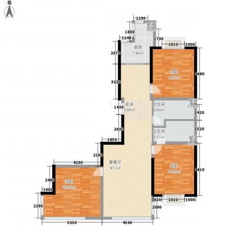 幸福阳光3室1厅2卫1厨136.03㎡户型图