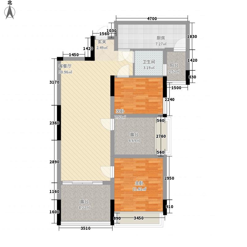岸上蓝山5.60㎡户型2室1厅1卫1厨