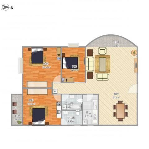 大洲城市花园3室1厅2卫1厨190.00㎡户型图