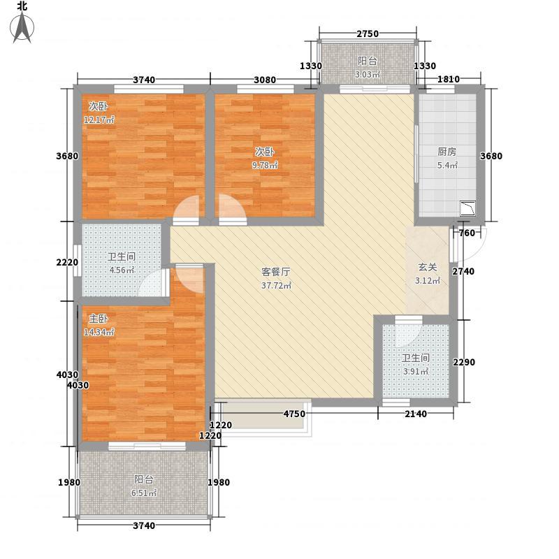 八方书香苑138.71㎡B1户型3室2厅2卫1厨