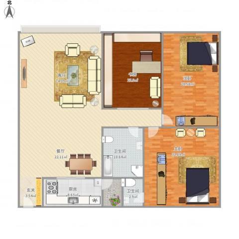 广珠花园2-4033室1厅2卫1厨241.00㎡户型图