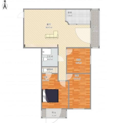 安慧北里逸园3室1厅1卫1厨127.00㎡户型图