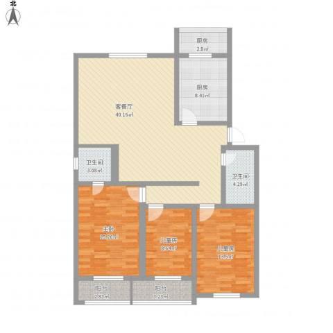 金厦新都花园3室1厅2卫2厨148.00㎡户型图