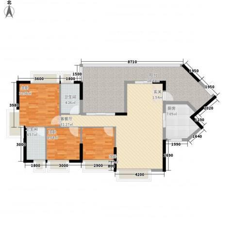 中珠上城3室1厅2卫1厨124.00㎡户型图