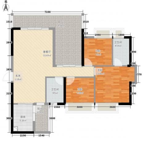 中珠上城3室1厅2卫1厨121.00㎡户型图