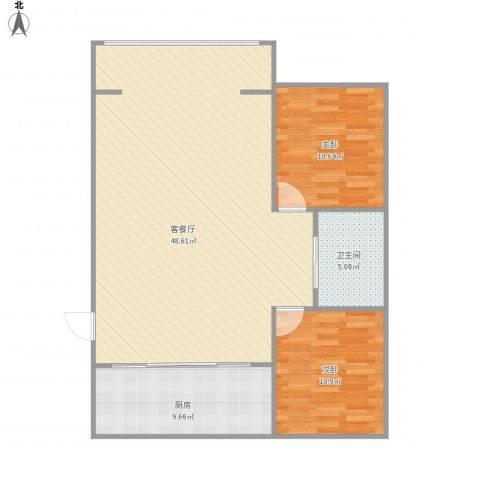 金碧家园2室1厅1卫1厨112.00㎡户型图
