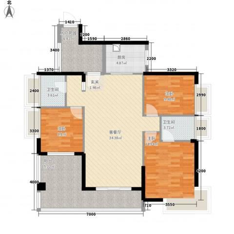 中珠上城3室1厅2卫1厨125.00㎡户型图