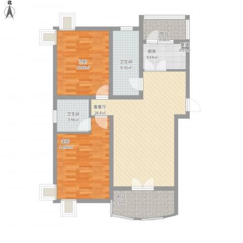 元一时代花园2室1厅2卫1厨111.00㎡户型图