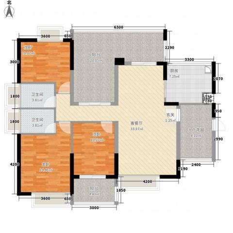 中珠上城3室1厅2卫1厨142.00㎡户型图