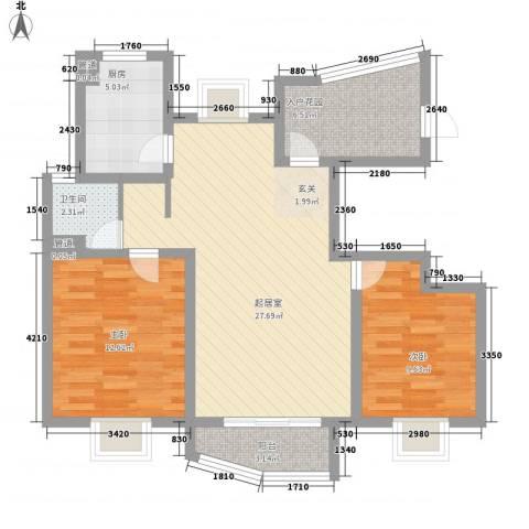 海航白金汇2室0厅1卫1厨93.00㎡户型图