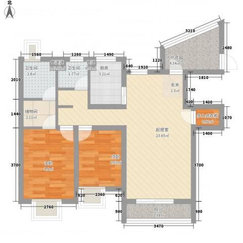 海航白金汇2室0厅2卫1厨109.00㎡户型图