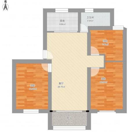 方舟园三村3室1厅1卫1厨104.00㎡户型图