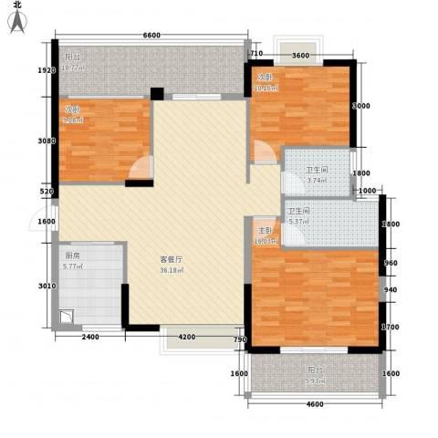 中珠上城3室1厅2卫1厨134.00㎡户型图