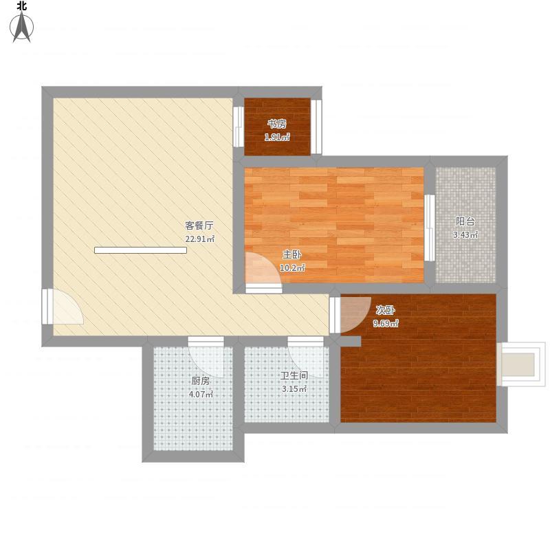 白云小区1#2#4#02户型两室一厅一卫一厨