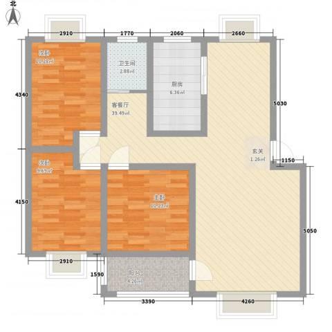 湖东花城首府3室1厅1卫1厨120.00㎡户型图