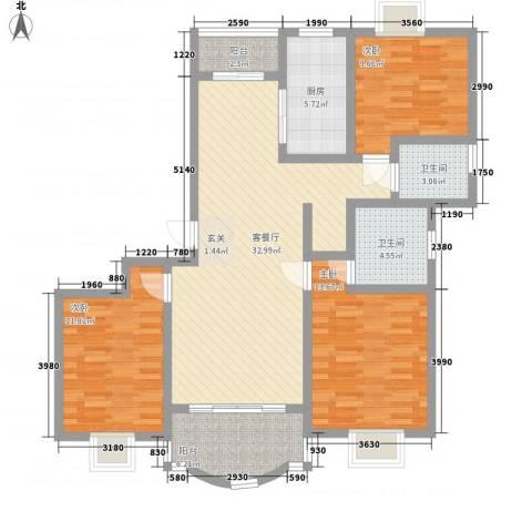 明丰阳光苑3室1厅2卫1厨131.00㎡户型图