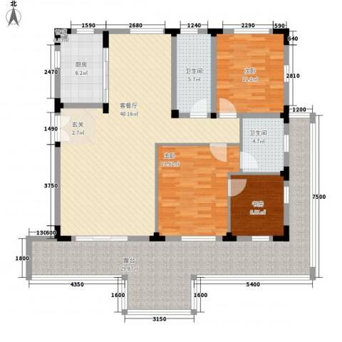 万科西街庭院3室1厅2卫1厨118.59㎡户型图
