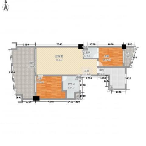三亚湾海韵度假酒店2室0厅2卫1厨132.00㎡户型图