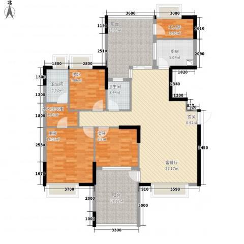 中珠上城3室1厅2卫1厨137.00㎡户型图