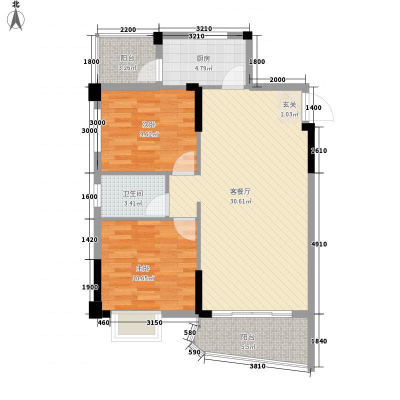 富城国际88.00㎡2#D'户型2室2厅1卫1厨