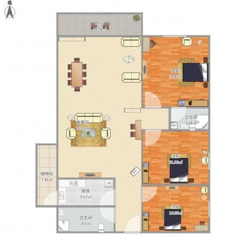 华侨海景城二期3室1厅2卫1厨259.00㎡户型图