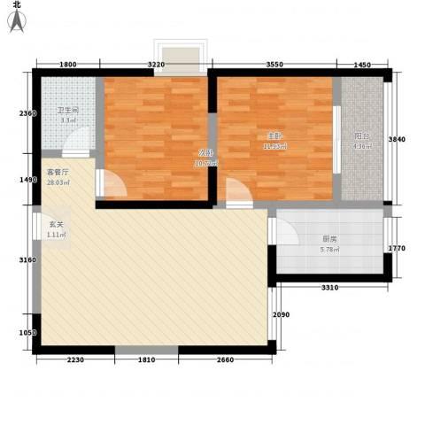 东城夕鹫2室1厅1卫1厨93.00㎡户型图