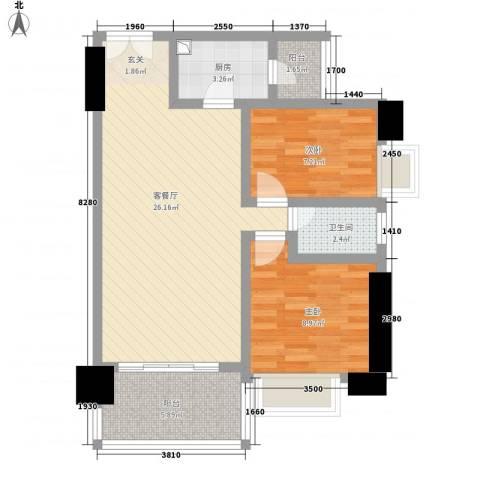 亿海湾2室1厅1卫1厨83.00㎡户型图